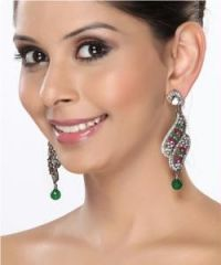 Chandelier Earrings with CZ Rubies and Emeralds