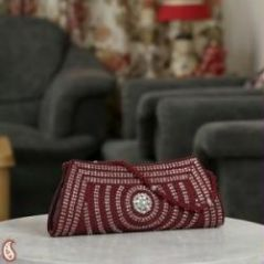 Scarlett Red Beads and Stone lace Boat Clutch