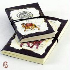 Office Products - Camel and Batik Print Hand Made Paper Diary set