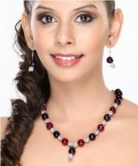 Purple Red Onyx and CZ Beads Necklace set