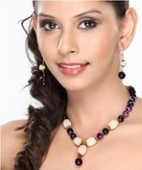 Pearl and Purple Agate Beads Necklace set