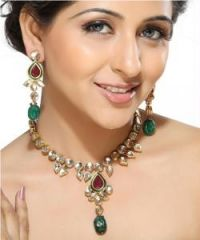 Imititation Jewellery Sets - Teardrop Ruby and Emerald Beads Necklace Set