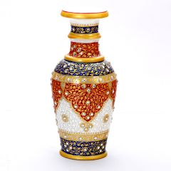 Handpainted Red & Blue Decorative Marble Vase
