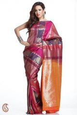 Designer Art Silk Saree in Pink, Purple and Orange