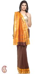 Chocolate Brown Orange Rich Gold Zari Art Silk Saree
