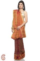 Rust Orange Pure Silk jacquard Saree with Resham work