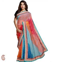 Shaded Chiffon Saree with Traditional Lehariya and Mothda work
