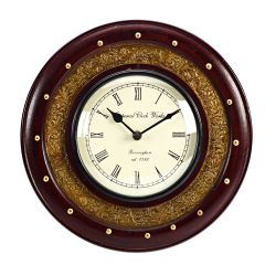 Wooden Wall Clock with Antique Finish
