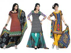 Shop or Gift Salwar Studio Pack Of 3 Art Crepe Unstitched Churidar Kameez With Dupatta - Code - 1015-1021-1005 Online.