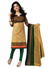Shop or Gift Salwar Studio Beige & Green Art Crepe Unstitched Churidar Kameez With Dupatta Online.