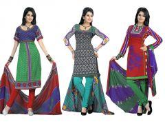 Shop or Gift Salwar Studio Pack Of 3 Art Crepe Unstitched Churidar Kameez With Dupatta - Code - 1018-1021-1014 Online.