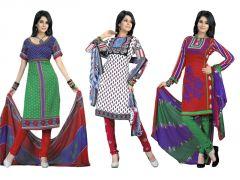 Shop or Gift Salwar Studio Pack Of 3 Art Crepe Unstitched Churidar Kameez With Dupatta - Code - 1018-1020-1014 Online.