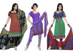 Shop or Gift Salwar Studio Pack Of 3 Art Crepe Unstitched Churidar Kameez With Dupatta - Code - 1015-1016-1018 Online.
