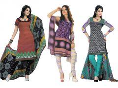 Shop or Gift Salwar Studio Pack Of 3 Art Crepe Unstitched Churidar Kameez With Dupatta - Code - 1015-969-1021 Online.