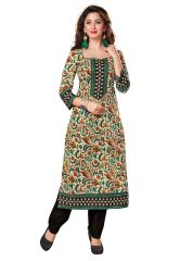 Gift Or Buy Salwar Studio Beige - Multicolor Cotton Floral Printed Unstitched Kurti Fabric - (Code - Komalkavya-1115)