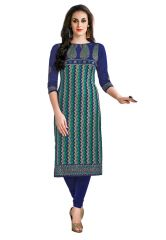 Salwar Studio Women's Voilet & Green Cotton Jacquard Chevron, Paisley Printed Unstitched Kurti Fabric (only Kurti Fabric)-COOLCOTTON-2113