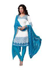 Salwar Studio White & Blue Salwar Kameez Suit With Dupatta Rimzim-8018