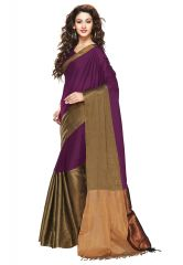 Salwar Studio Women Voilet-Golden Cotton Embellished With Zari Border Saree With Blouse Piece-(Code-ARZU-ARYAA-SANGRIA)