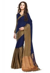 Salwar Studio Women Navy Blue-Golden Cotton Embellished With Zari Border Saree With Blouse Piece-(Code-ARZU-ARYAA-SYMPHONY)