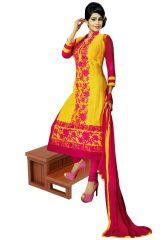 Salwar Studio Women's Clothing - Salwar Studio Yellow- Pink Karachi Cotton Dress Material With Dupatta  - (Code - Gulnaz-2194)
