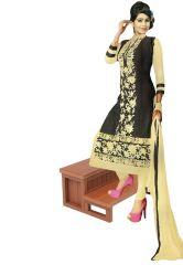 Salwar Studio Women's Clothing - Salwar Studio Black- Fawn Karachi Cotton Dress Material With Dupatta  - (Code - Gulnaz-2205)