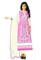 Salwar Studio Women's Clothing - Salwar Studio Light Pink- Off White Karachi Cotton Dress Material With Dupatta  - (Code - Gulnaz-2206)