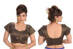 Salwar Studio Women's Clothing - Salwar Studio Black Jamevar Designer Blouse ( SS2201 )