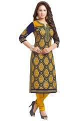 Salwar Studio Womens Dark Blue & Gold Cotton Paisley, Floral Printed Unstitched Kurti