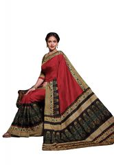 Salwar Studio Women Maroon-Black Tussar Silk Floral Printed Saree With Blouse Piece-(Code-SILKTUSSAR-14303)