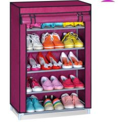 Shop or Gift Portable Adjustable 5 Layer Shoe Rack With Cover Online.
