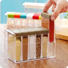 Gift Or Buy Kitchen-6pcs-Transparent-Spices-Box-Condiment-Bottles-Spice-Jar-Spices-Storage by hpk