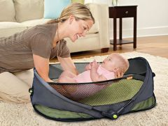 Brica Fold N Go Baby Travel Bassinet Cot With Mattress & Sheet Portable Cot