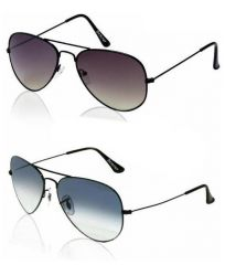 Buy 1 Get 1 Free -dark Gray And Blue Lens Aviators With Gunmetal Frames