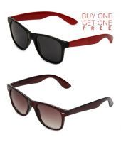 Buy 1 Red Wayfarer Sunglasses And Get 1 Brown Wayfarer Sunglasses Free