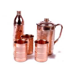 Utensils - Copper Hammer 1 Jug 2100 Ml With 1 Bisleri Design Bottle 800 Ml & 3 Glass 300 Ml Each - Tableware