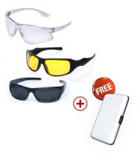 Shop or Gift Day And Night Vision Sunglasses Set Of 3, Free Aluminium Wallet Online.