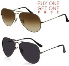 Vnk Black Aviator Sunglasses And Brown Aviator Sunglasses - Buy 1 Get 1 Free