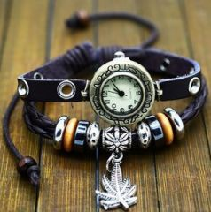 Black Color Quartz Fashion Weave Wrap Around Leather Bracelet Lady Watch