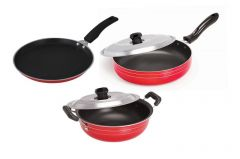 Non Stick Cookware Set Of 3- Dosa Tawa, Kadhai With Lid & Fry Pan With Lid