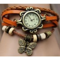 Vintage Leather Watch Orange
