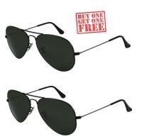 Shop or Gift Buy 1 Get 1 Free - Black Aviator Sunglasses Online.
