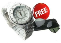 Stylish White Watch Free Aviator Sunglasses