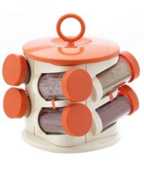 Pogo Designer Revolving Orange Spice Jar Set- 8pcs