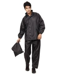 Brandtrendz Black Polyester 3 Fold Men's Raincoat
