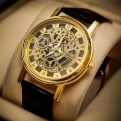 Brown Strap Golden Dial Skeleton Watch For Men
