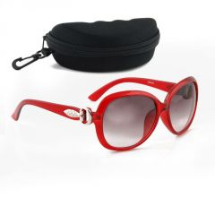 Brooch Red Tie Sunglass With Hard Case