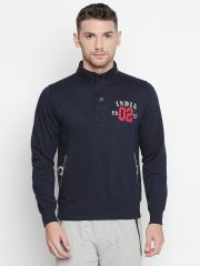 Fitz Navy Blue Mock Collar Sweatshirt For Mens (Code - A18SW9002NV)