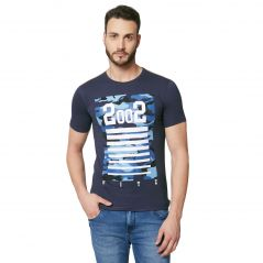 Fitz Navy Blue Round Neck T-Shirt For Mens (Code - A18TS7002IO)