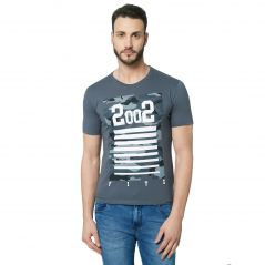 Fitz Grey Round Neck T-Shirt For Mens (Code - A18TS7004DKGY)