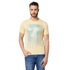 Fitz Yellow Round Neck T-Shirt For Mens (Code - A18TS7008YW)
